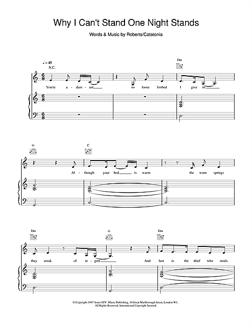 Catatonia Why I Can't Stand One Night Stands sheet music notes and chords