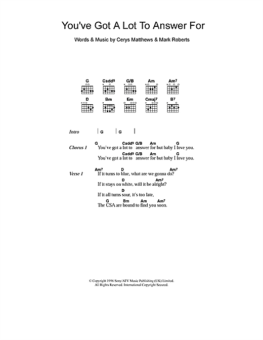 Catatonia You've Got A Lot To Answer For sheet music notes and chords. Download Printable PDF.