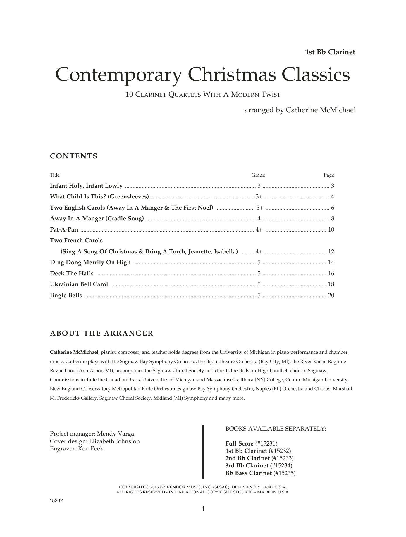 Clarinet Sheet Music Christmas.Catherine Mcmichael Contemporary Christmas Classics 1st Bb Clarinet Sheet Music Notes Chords Download Printable Woodwind Ensemble Sku 125068