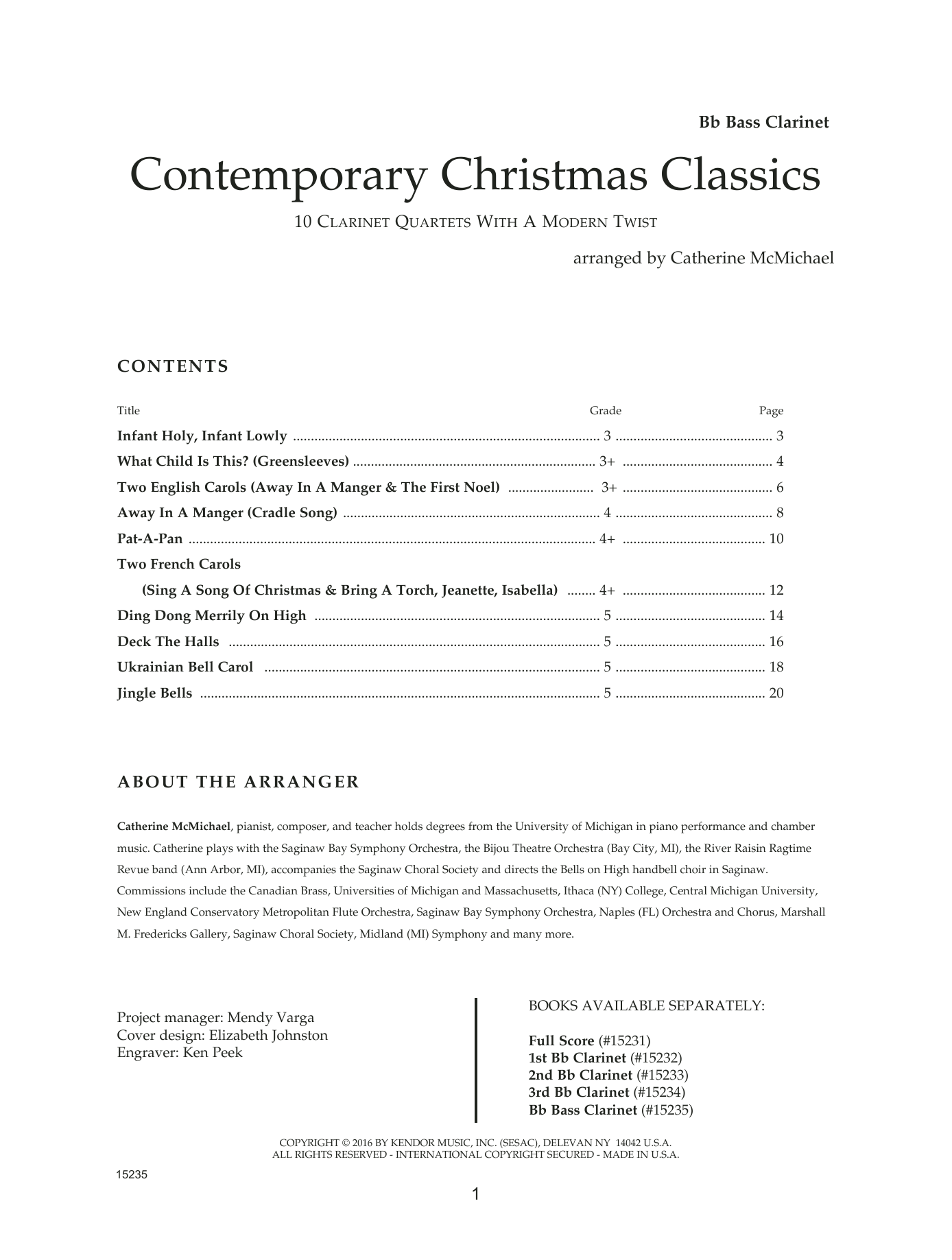 Catherine McMichael Contemporary Christmas Classics - Bb Bass Clarinet sheet music notes and chords