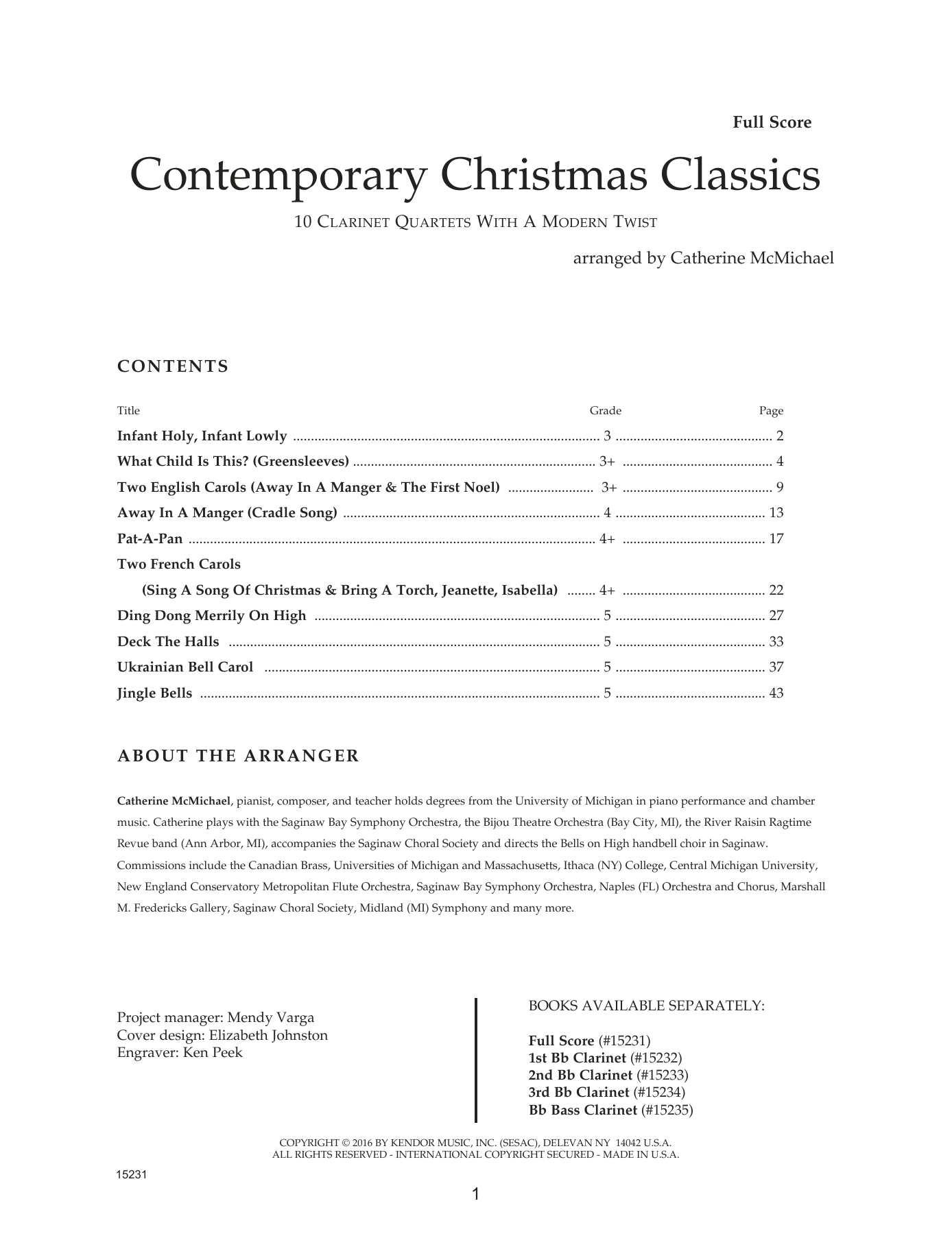 Catherine McMichael Contemporary Christmas Classics - Full Score sheet music notes and chords. Download Printable PDF.