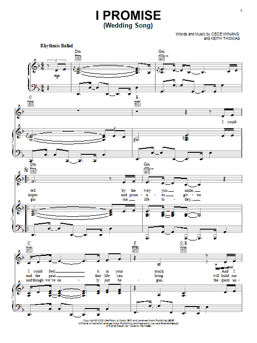 CeCe Winans I Promise (Wedding Song) sheet music notes and chords. Download Printable PDF.