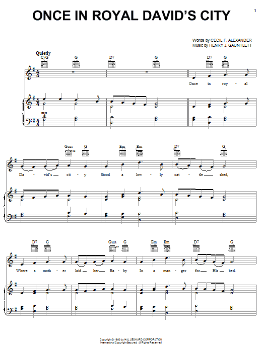 Christmas Carol Once In Royal David's City sheet music notes and chords. Download Printable PDF.