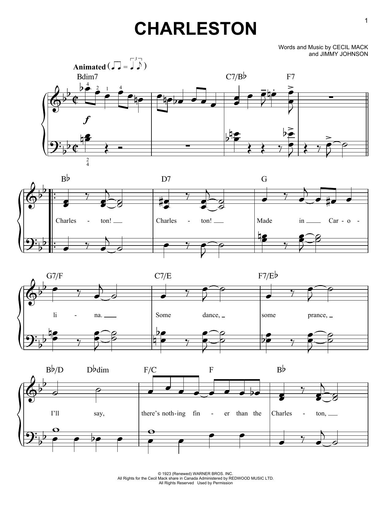 Cecil Mack Charleston sheet music notes and chords