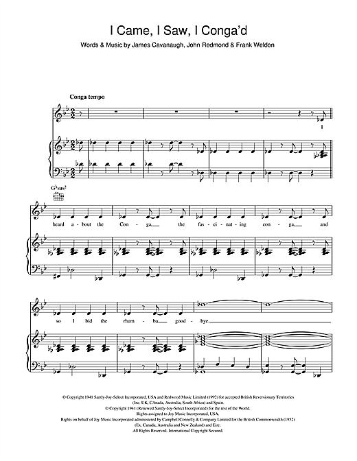 Celia Lipton I Came, I Saw, I Conga'd sheet music notes and chords. Download Printable PDF.