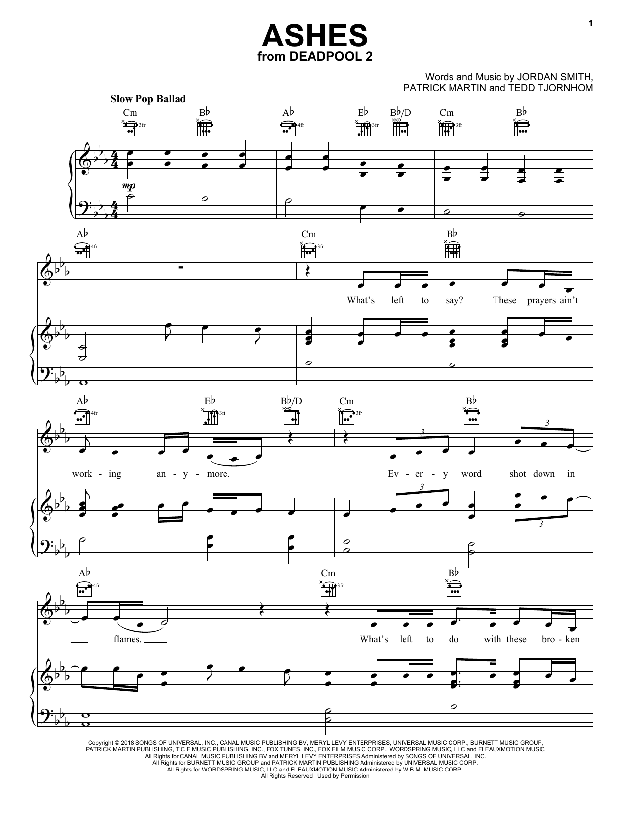 Celine Dion 'Ashes' Sheet Music Notes, Chords | Download Printable Piano,  Vocal & Guitar (Right-Hand Melody) - SKU: 252677