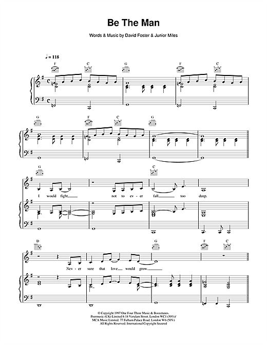 Celine Dion Be The Man sheet music notes and chords. Download Printable PDF.
