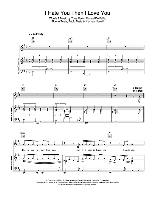 Celine Dion I Hate You Then I Love You sheet music notes and chords