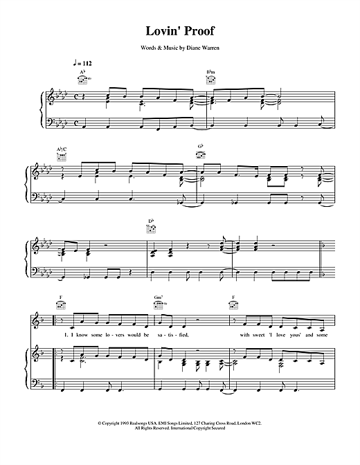 Celine Dion Lovin' Proof sheet music notes and chords. Download Printable PDF.