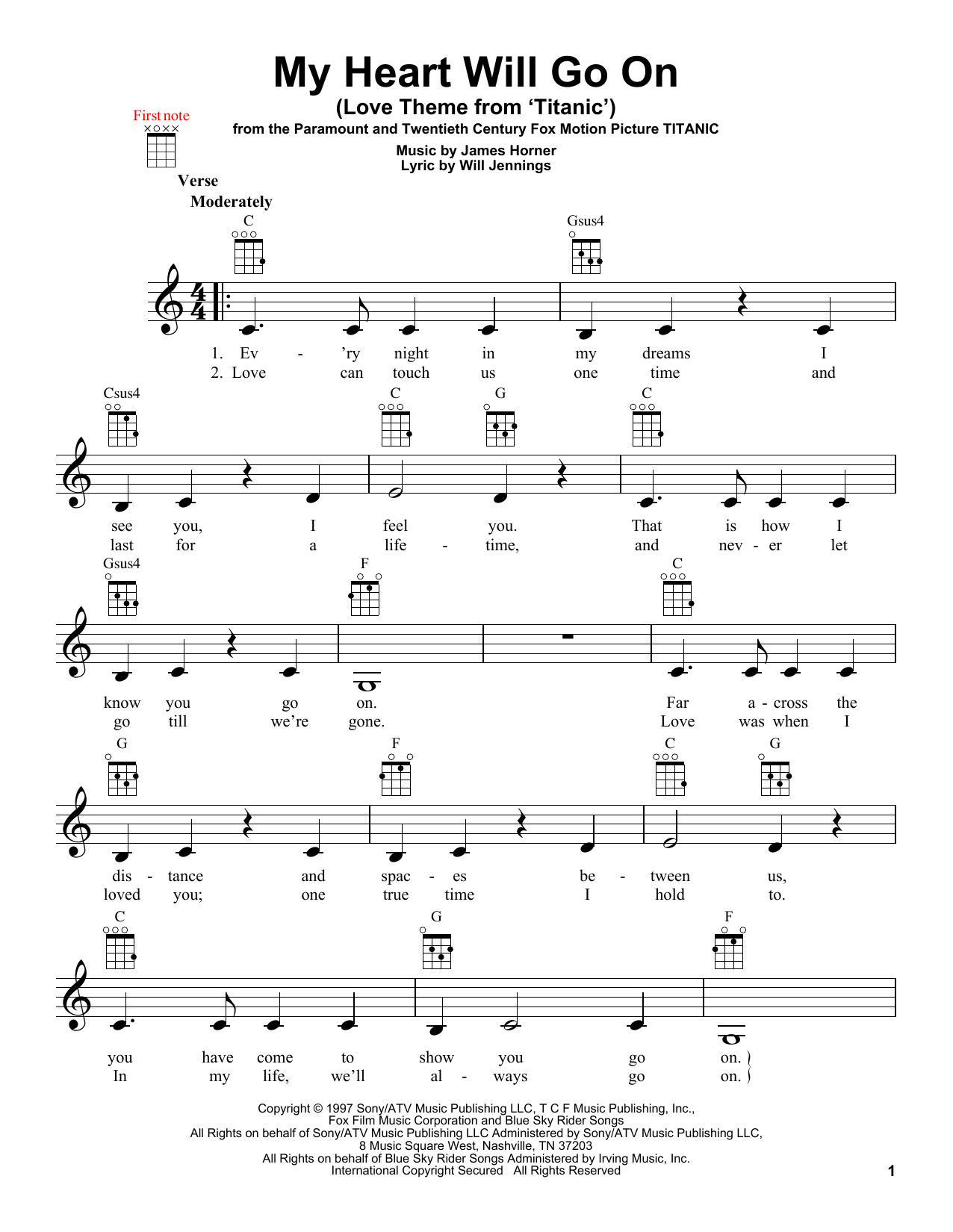 Celine Dion My Heart Will Go On (Love Theme From 'Titanic') sheet music notes and chords
