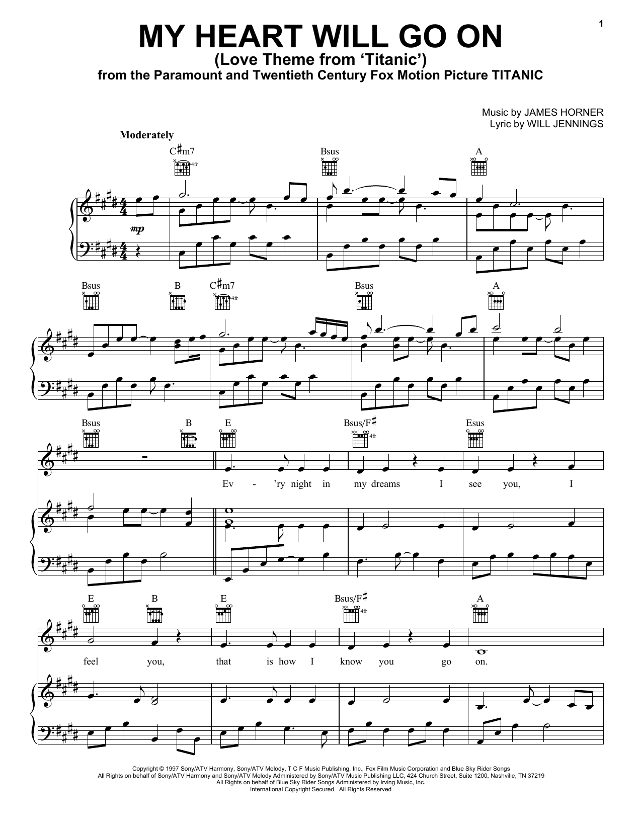 Celine Dion My Heart Will Go On (Love Theme From 'Titanic') sheet music notes and chords. Download Printable PDF.