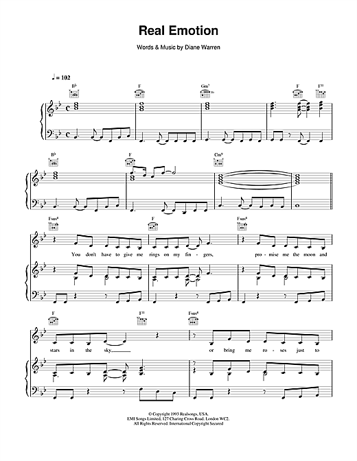 Celine Dion Real Emotion sheet music notes and chords. Download Printable PDF.