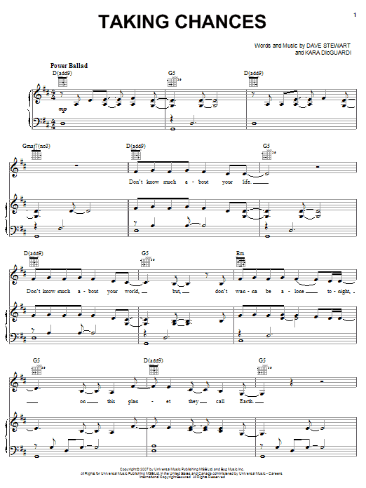 Celine Dion Taking Chances sheet music notes and chords. Download Printable PDF.