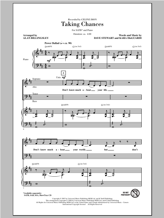 Celine Dion Taking Chances (arr. Alan Billingsley) sheet music notes and chords. Download Printable PDF.