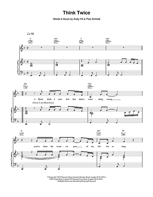 Celine Dion Think Twice sheet music notes and chords