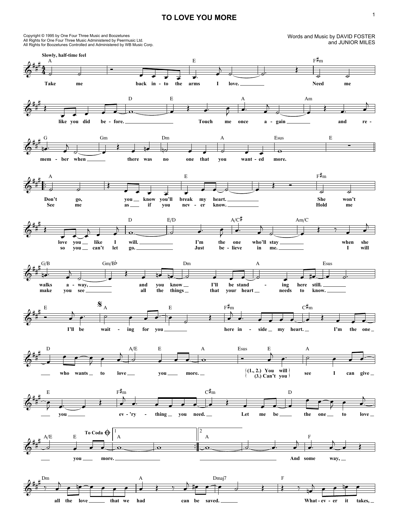 Celine Dion To Love You More sheet music notes and chords