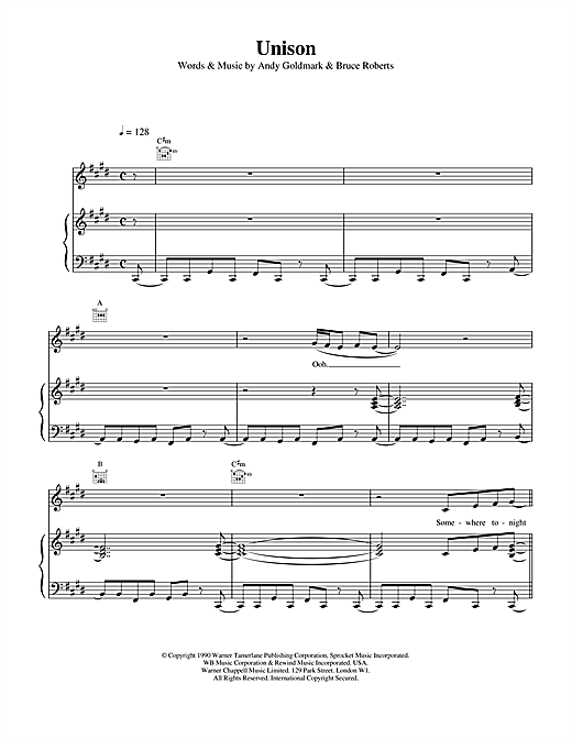 Celine Dion Unison sheet music notes and chords