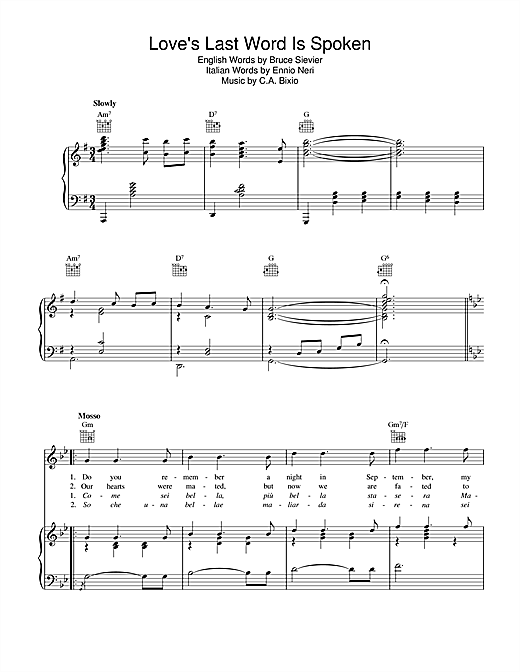 Cesare Bixio Love's Last Word Is Spoken sheet music notes and chords. Download Printable PDF.