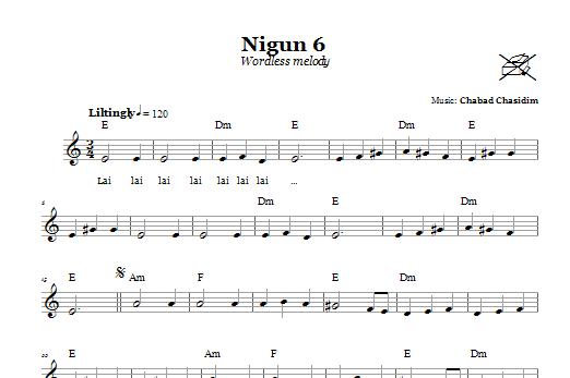 Chabad Chasidim Nigun 6 (Wordless Melody) sheet music notes and chords