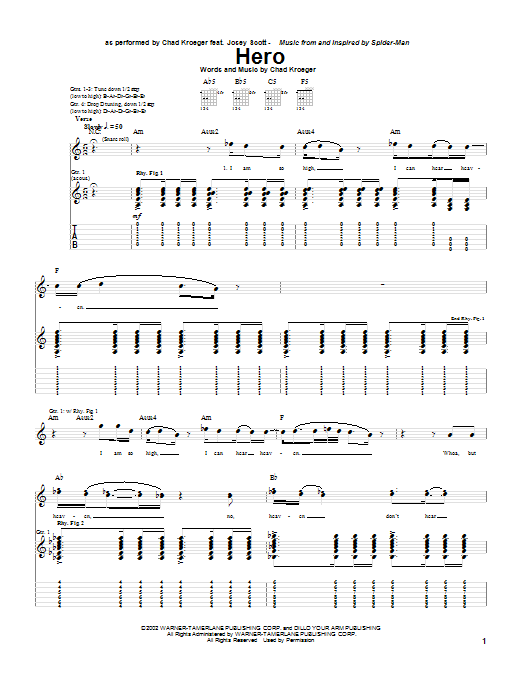 Chad Kroeger Hero sheet music notes and chords. Download Printable PDF.
