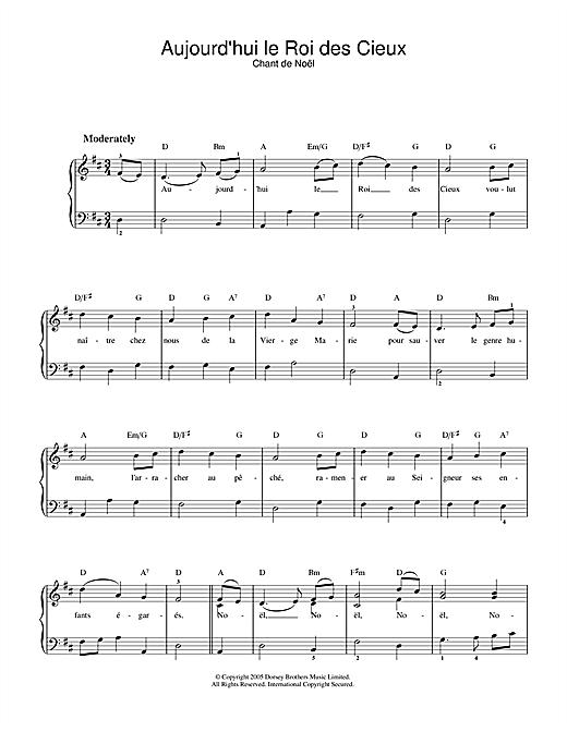 Chant de Noël Aujourd'hui Le Roi Des Cieux sheet music notes and chords. Download Printable PDF.