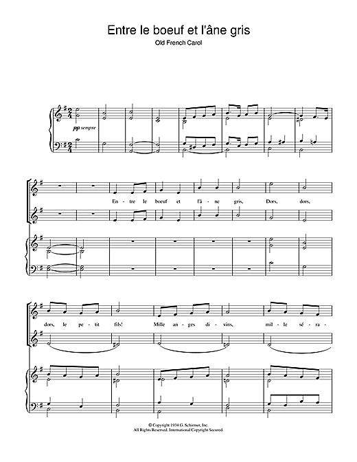 Chant de Noël Entre Le Boeuf Et L'âne Gris sheet music notes and chords. Download Printable PDF.