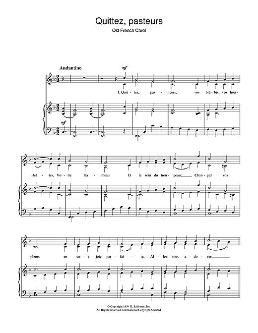 Chant de Noël Quittez Pasteurs sheet music notes and chords. Download Printable PDF.