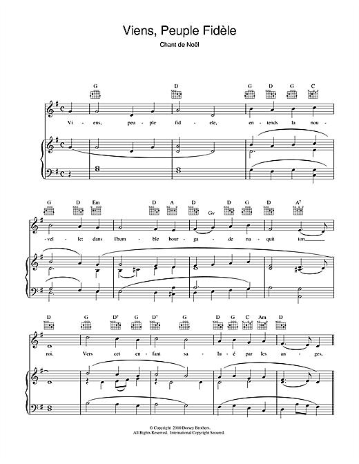 Chant de Noël Viens, Peuple Fidèle sheet music notes and chords. Download Printable PDF.