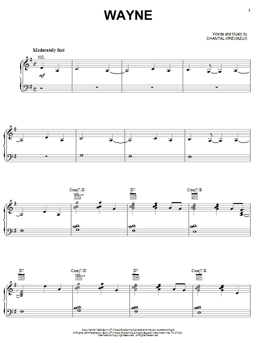Chantal Kreviazuk Wayne sheet music notes and chords. Download Printable PDF.