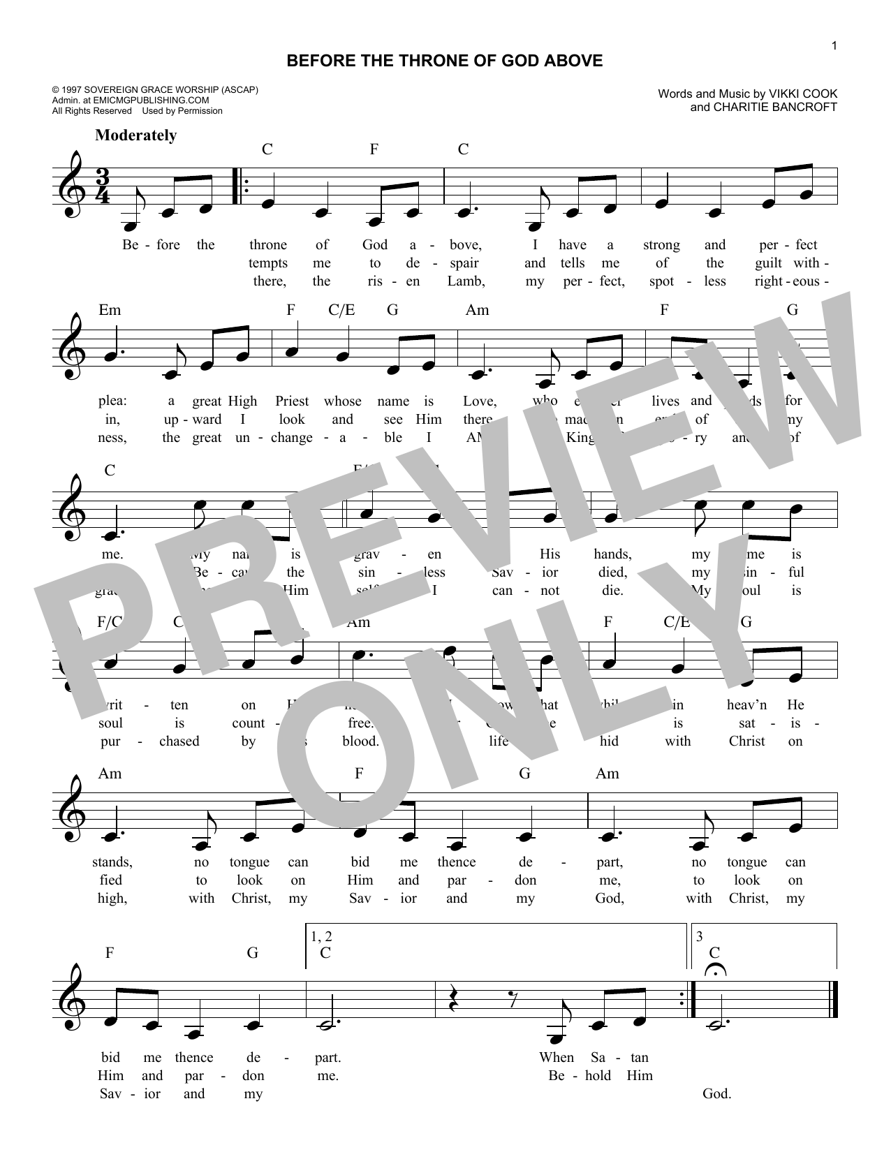 Vikki Cook Before The Throne Of God Above sheet music notes and chords. Download Printable PDF.
