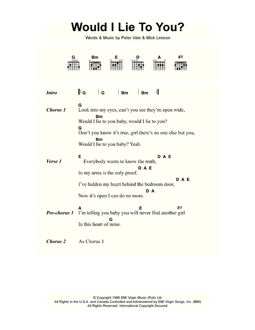 Charles & Eddie Would I Lie To You? sheet music notes and chords. Download Printable PDF.