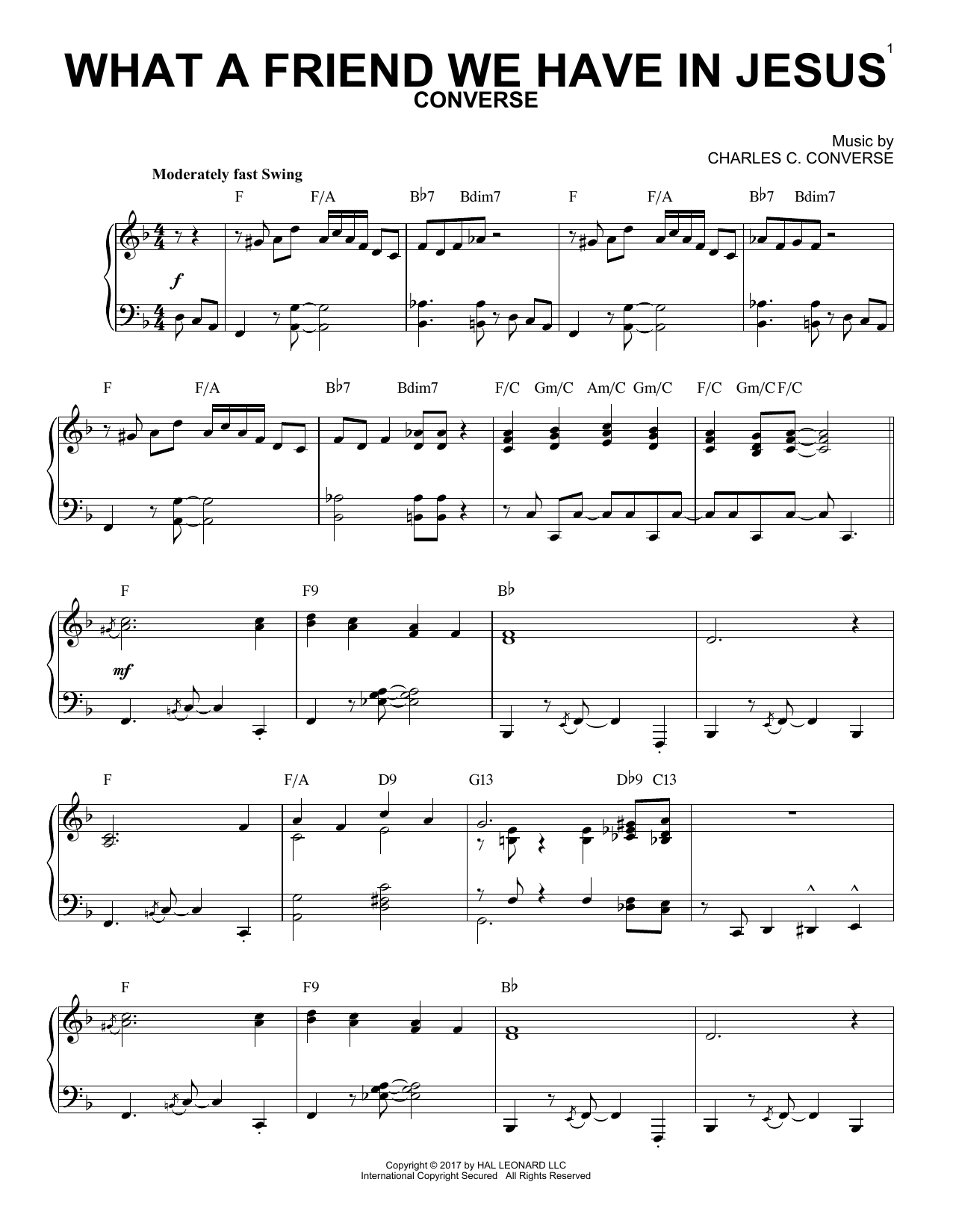 Charles C. Converse What A Friend We Have In Jesus [Jazz version] sheet music notes and chords. Download Printable PDF.