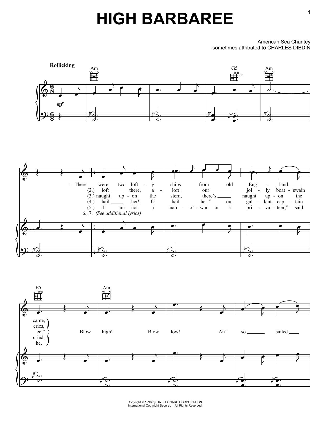 Charles Dibdin High Barbaree sheet music notes and chords. Download Printable PDF.