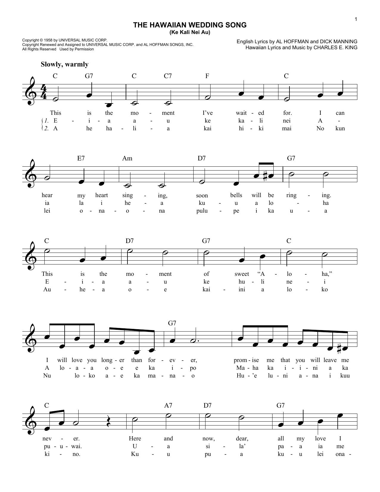 Charles E. King The Hawaiian Wedding Song (Ke Kali Nei Au) sheet music notes and chords. Download Printable PDF.