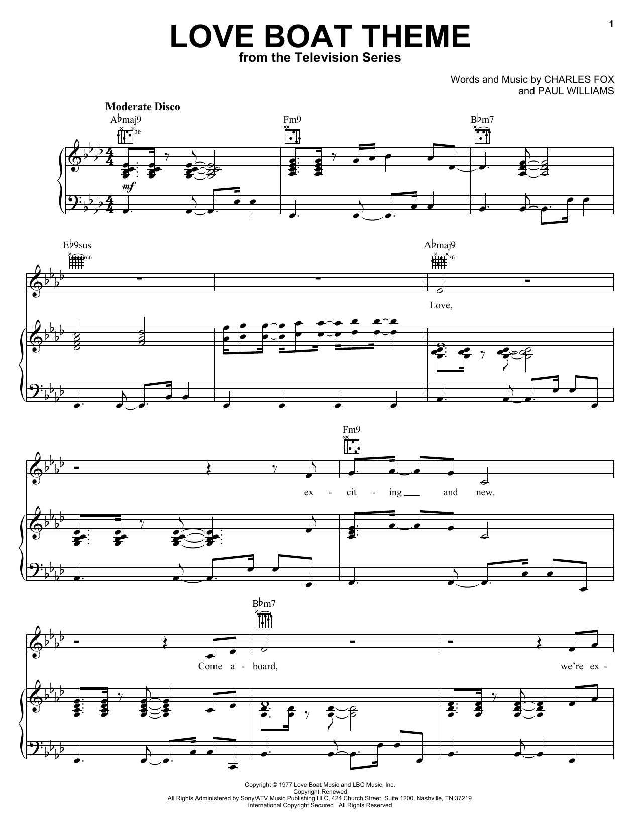 Charles Fox Love Boat Theme sheet music notes and chords