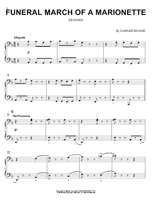Charles Gounod Funeral March Of A Marionette sheet music notes and chords. Download Printable PDF.