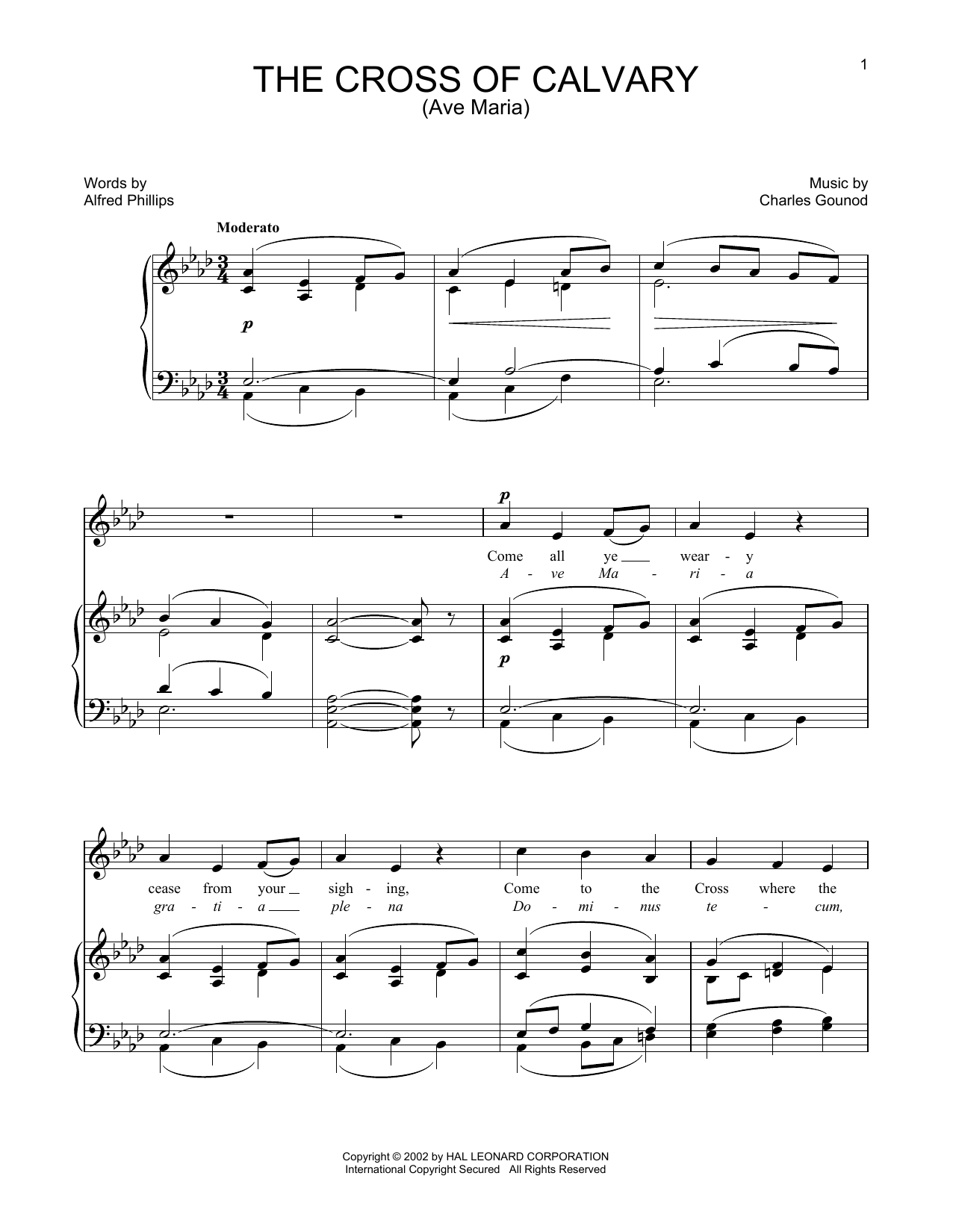 Charles Gounod The Cross Of Calvary sheet music notes and chords. Download Printable PDF.