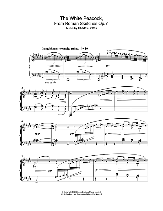 Charles Griffes The White Peacock, From Roman Sketches Op.7 sheet music notes and chords