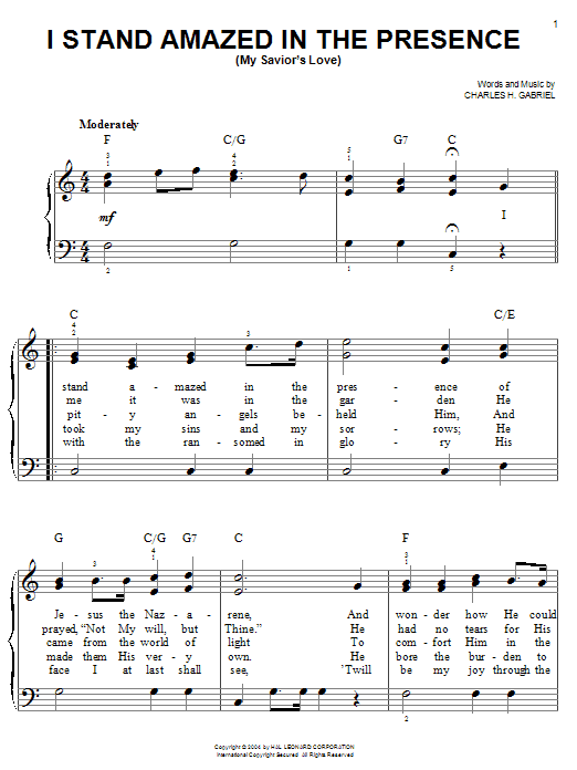 Charles H. Gabriel I Stand Amazed In The Presence (My Savior's Love) sheet music notes and chords. Download Printable PDF.