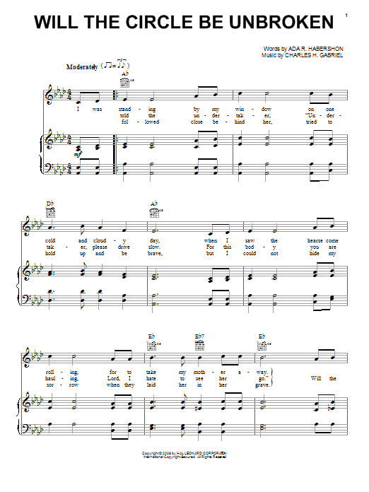 Charles H. Gabriel Will The Circle Be Unbroken sheet music notes and chords. Download Printable PDF.