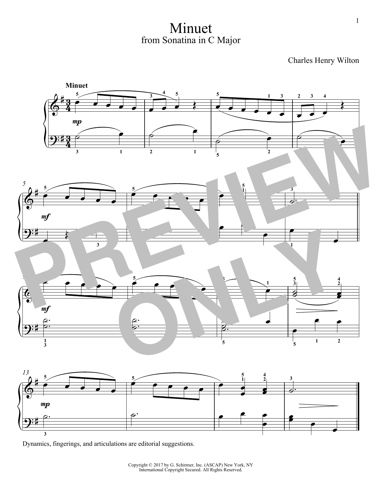 Charles Henry Wilton Minuet sheet music notes and chords. Download Printable PDF.