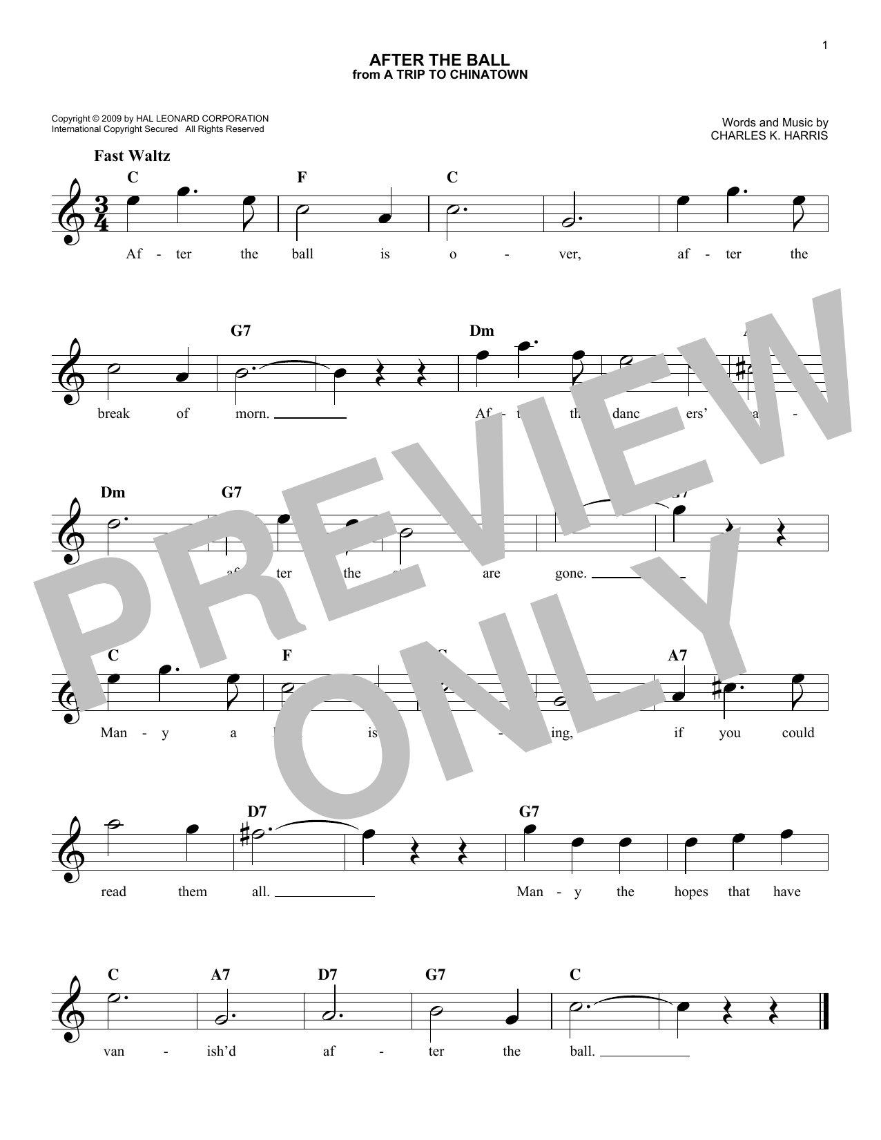 Charles K. Harris After The Ball sheet music notes and chords. Download Printable PDF.