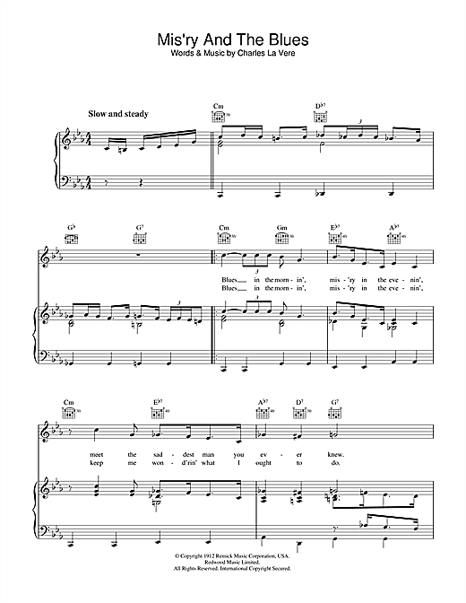 Charles LaVere Mis'ry And The Blues sheet music notes and chords. Download Printable PDF.