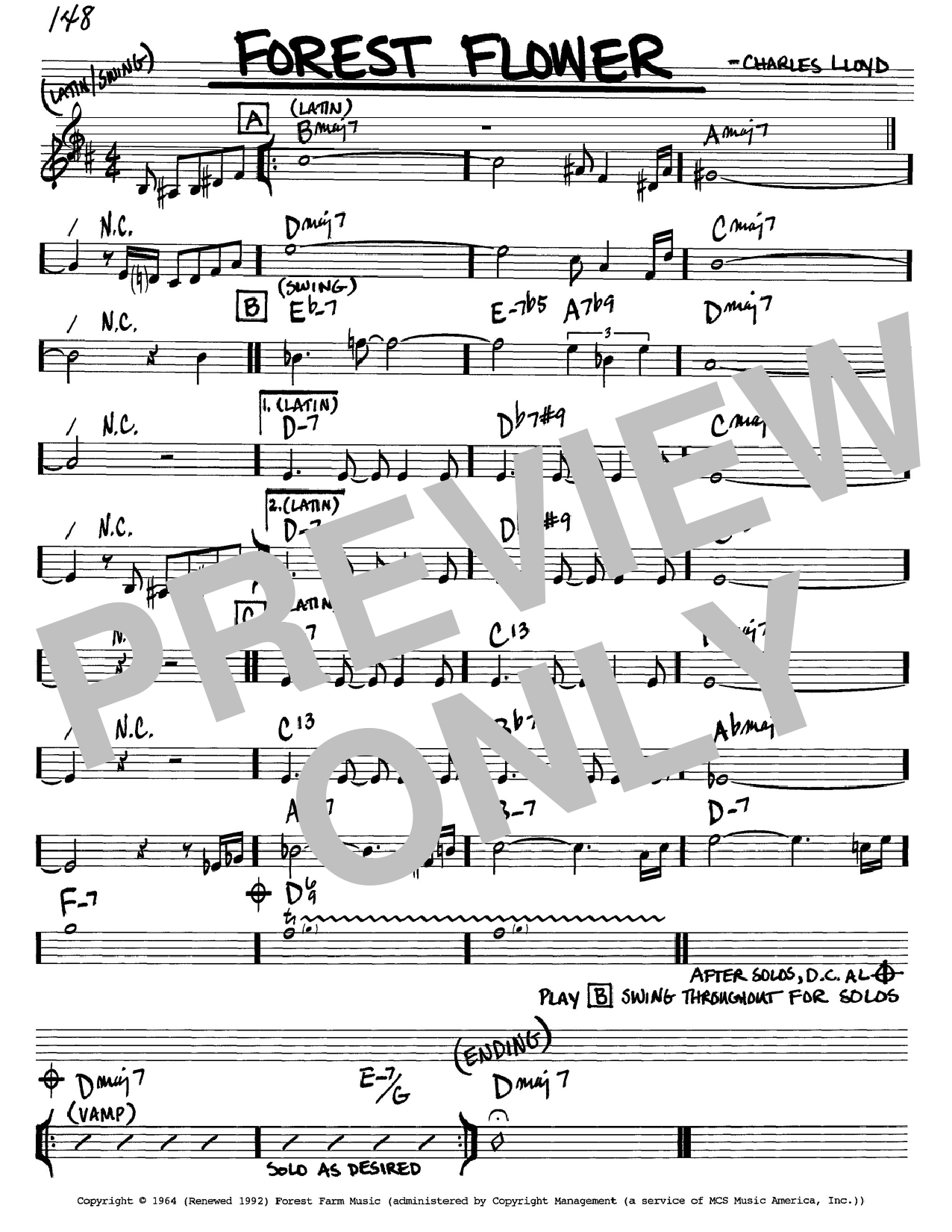 Charles Lloyd Forest Flower sheet music notes and chords. Download Printable PDF.