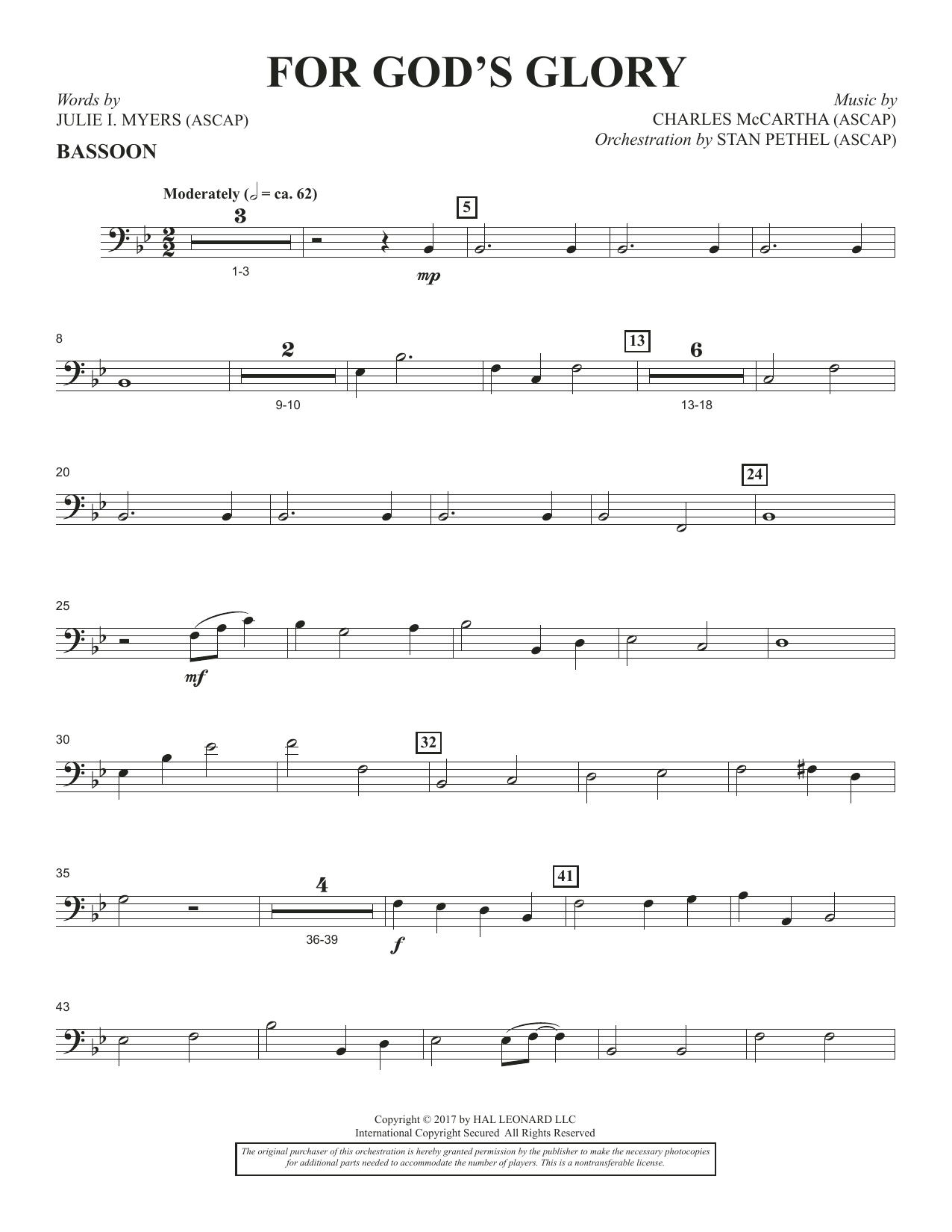 Charles McCartha For God's Glory - Bassoon sheet music notes and chords. Download Printable PDF.