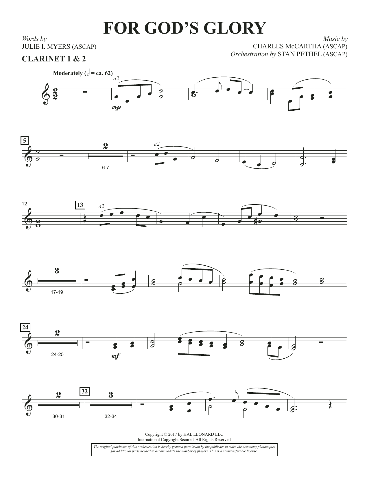 Charles McCartha For God's Glory - Bb Clarinet 1 & 2 sheet music notes and chords. Download Printable PDF.