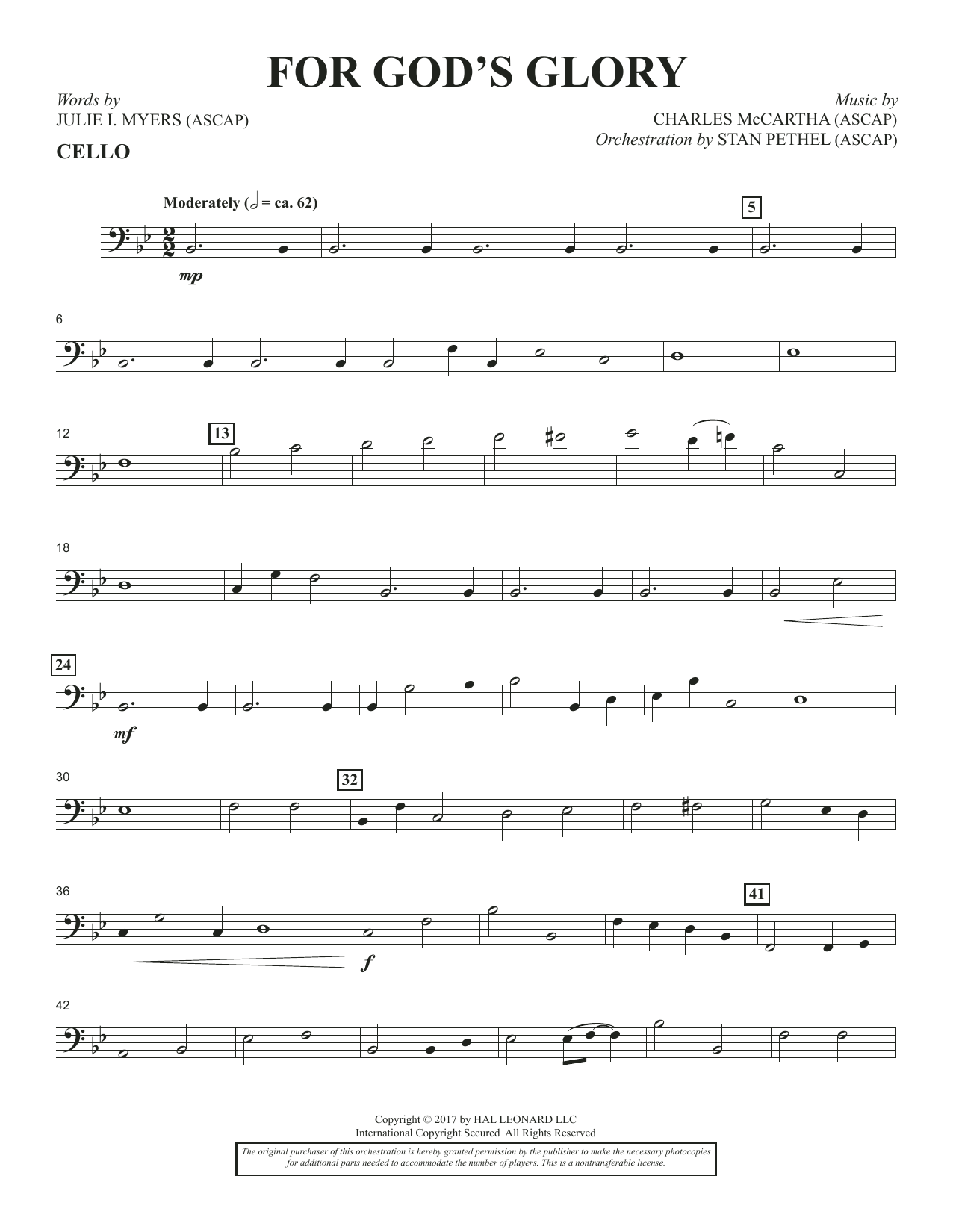 Charles McCartha For God's Glory - Cello sheet music notes and chords. Download Printable PDF.