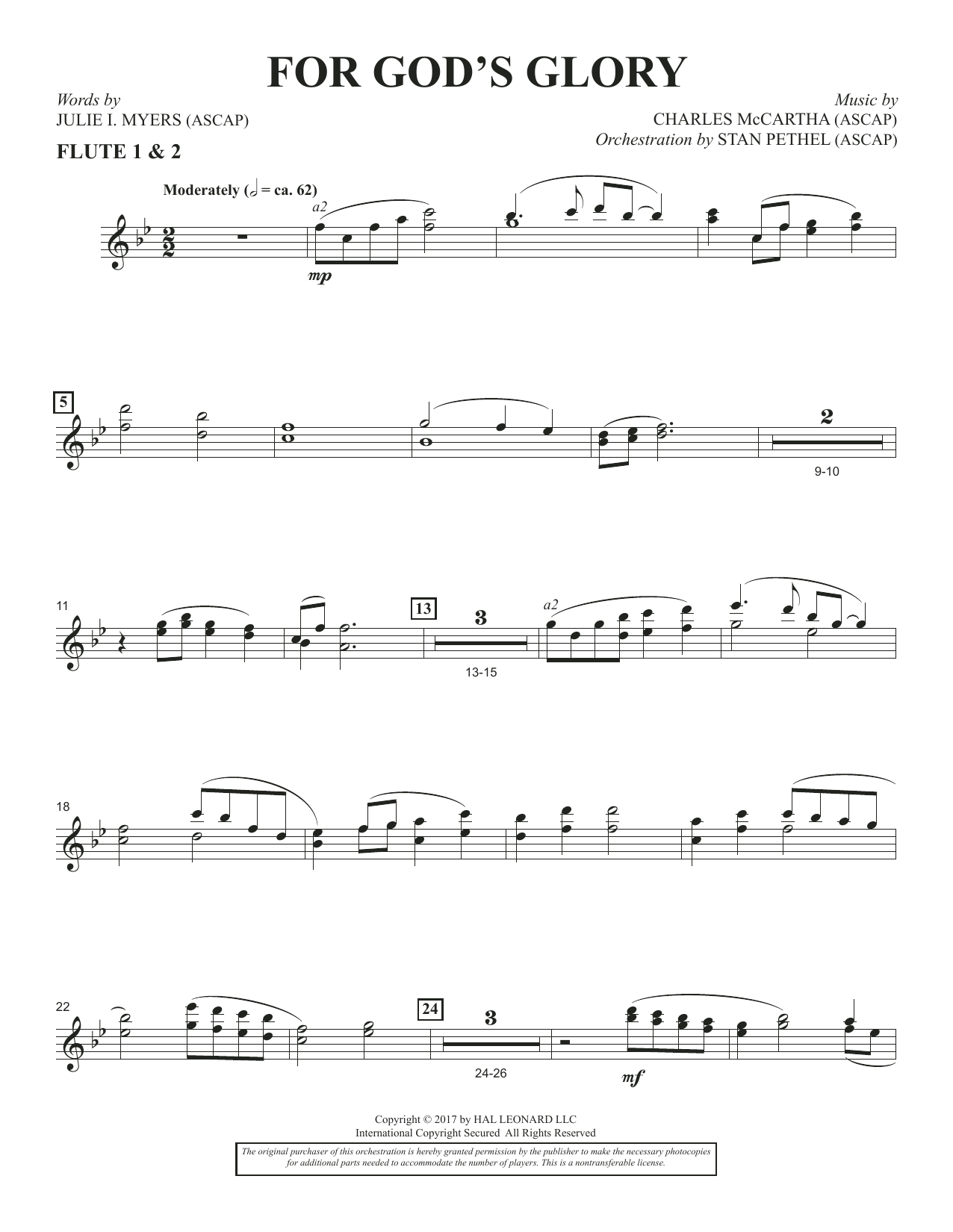 Charles McCartha For God's Glory - Flute 1 & 2 sheet music notes and chords. Download Printable PDF.