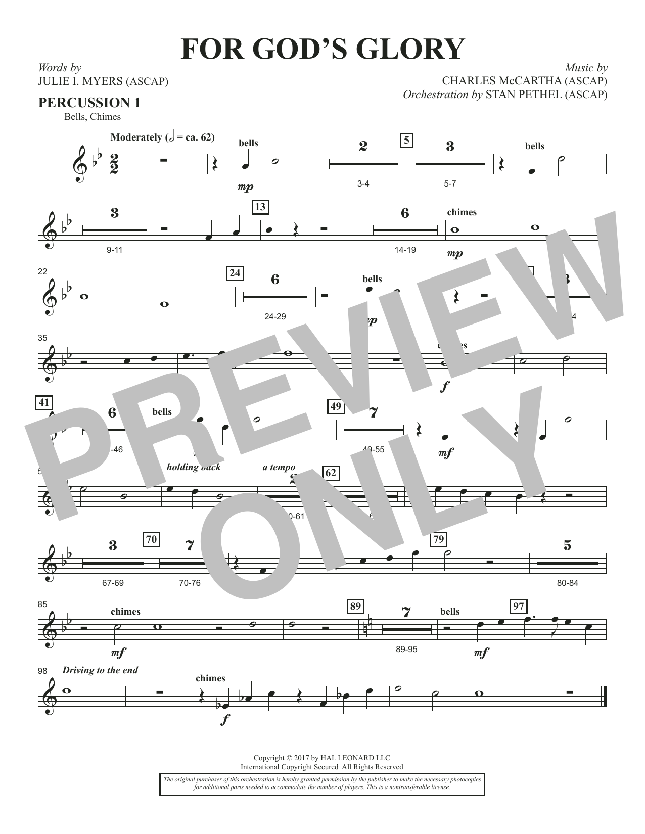 Charles McCartha For God's Glory - Percussion 1 sheet music notes and chords. Download Printable PDF.