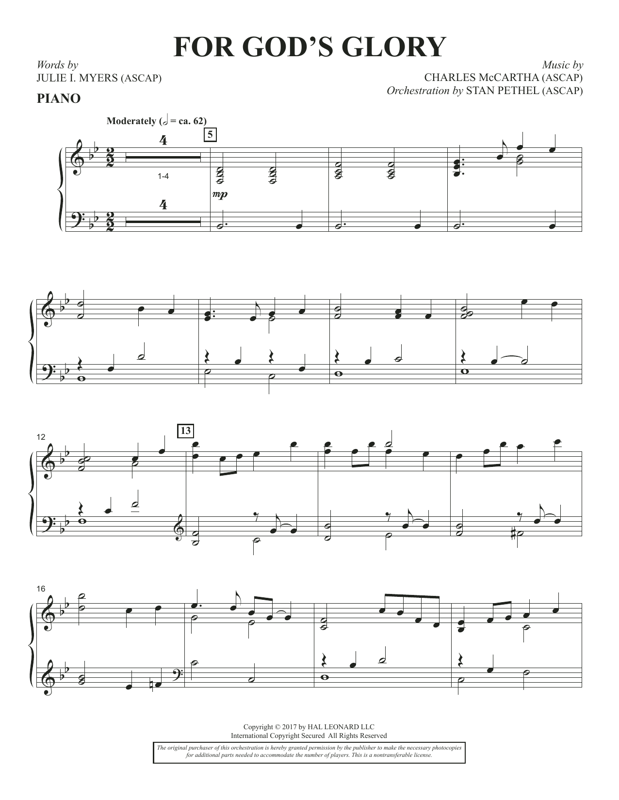 Charles McCartha For God's Glory - Piano sheet music notes and chords. Download Printable PDF.